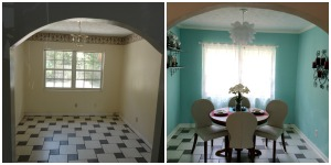 Dining room:  this is the first thing you see beyond the living room when entering the home.  We removed wall paper, added crown molding, an IKEA light fixture, paint and furnishings