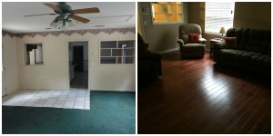 Drastic!  The back family room got hand-scraped mahogany floors