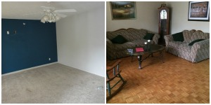 The Front Living Room:  We painted, pulled up the carpet and found hardwood and added some crown molding