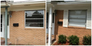 We added shutters and a row of azalea bushes along the front.