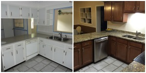 New cabinets, new counters, closing the wall, new appliances and removal of the low hanging view-blocking cabinets